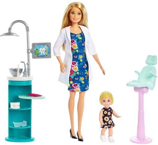 Lalka Mattel FXP16 Barbie dentystka z pacjentką