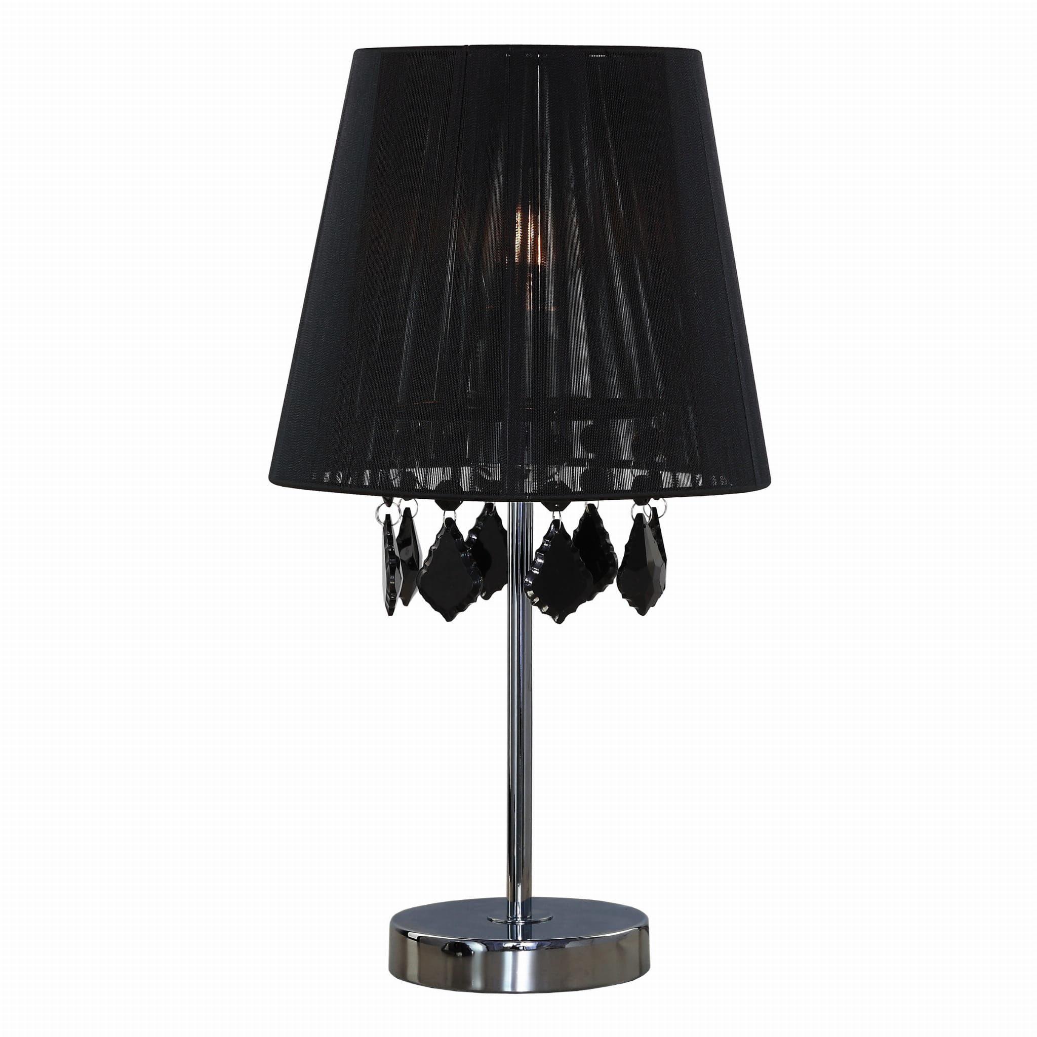 Light Prestige Mona LP-5005/1TS czarna lampa stołowa metalowa abażur tkanina kryształki 1x60W E27 42,5cm