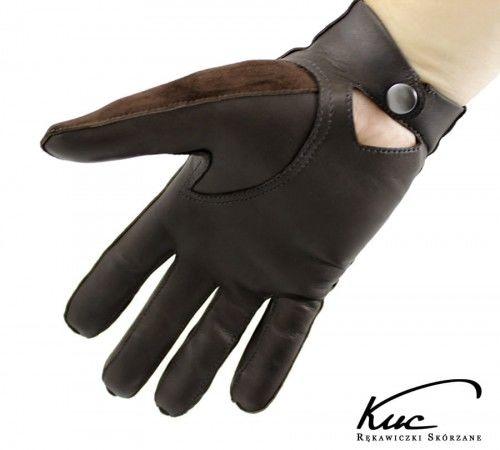 Męskie rękawiczki nieocieplane z zapięciem, welurowo-licowe