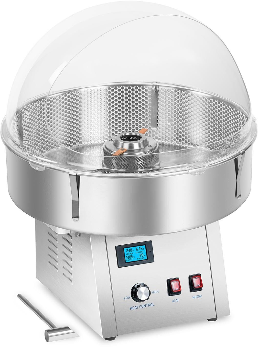 Maszyna do waty cukrowej - 62 cm - LCD - amortyzacja drgań - Royal Catering - RCZK-1500S-W - 3 lata gwarancji/wysyłka w 24h
