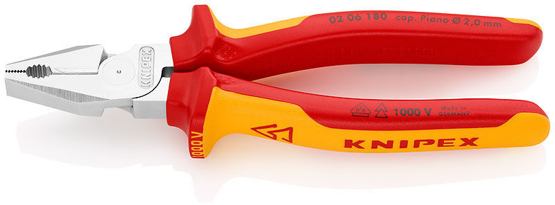 Knipex szczypce uniwersalne, kombinerki w izolacji VDE o zwiększonym przełożeniu, 180mm [02 06 180]