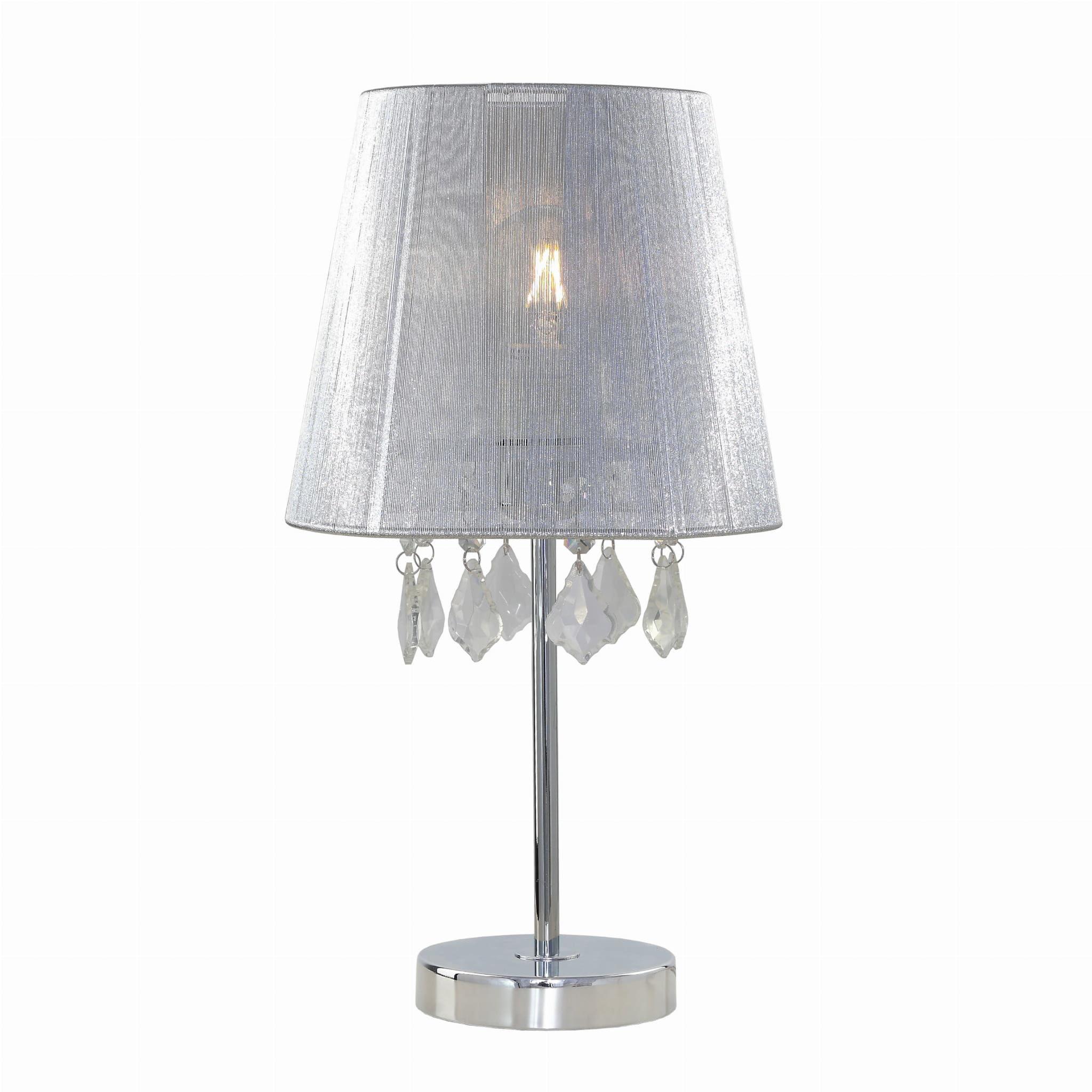 Light Prestige Mona LP-5005/1TS srebrna lampa stołowa metalowa abażur tkanina kryształki 1x60W E27 42,5cm
