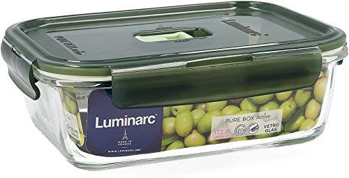 Luminarc Pure Box Active pojemnik na żywność ze szkła, prostokątny, 122 cl, oliwkowa zieleń