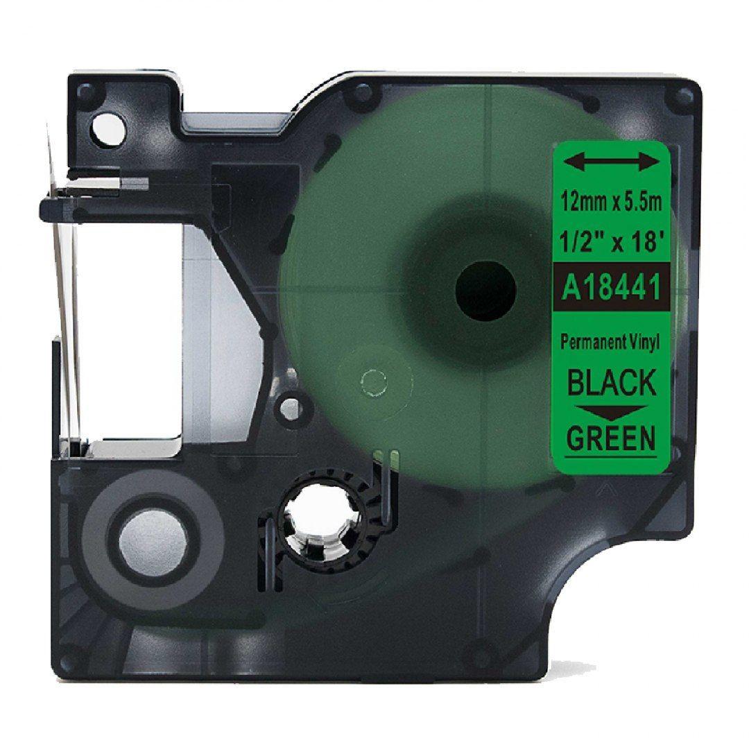 Taśma DYMO Rhino 18441 winylowa 12mm x 5.5m zielona czarny nadruk - zamiennik OSZCZĘDZAJ DO 80% - ZADZWOŃ! 730811399