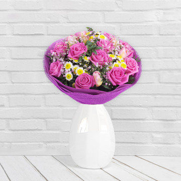 Różowe szaleństwo - Bukiet kwiatów