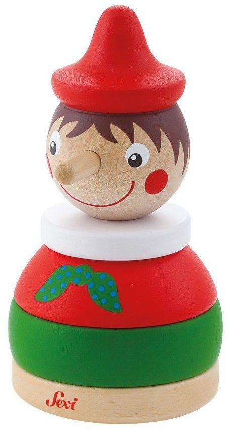 Wesoły Pinokio do układania na paliku, 82879-Sevi, zabawki drewniane