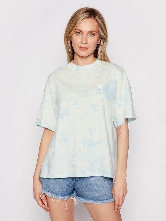Wrangler T-Shirt Girlfriend W7Q9GHB27 Niebieski Relaxed Fit