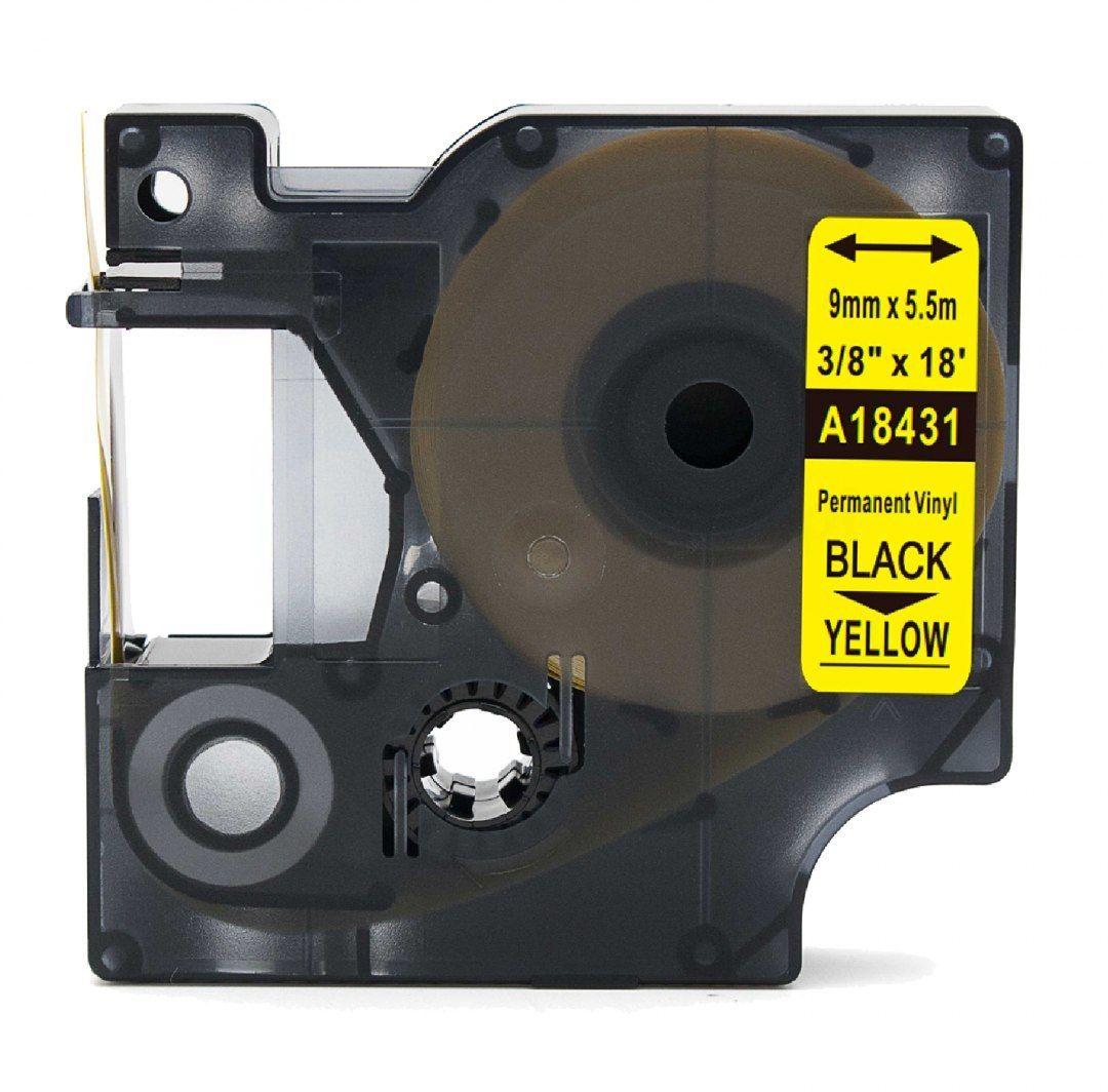 Taśma DYMO Rhino 18431 winylowa 9mm x 5.5m żółta czarny nadruk - zamiennik OSZCZĘDZAJ DO 80% - ZADZWOŃ! 730811399