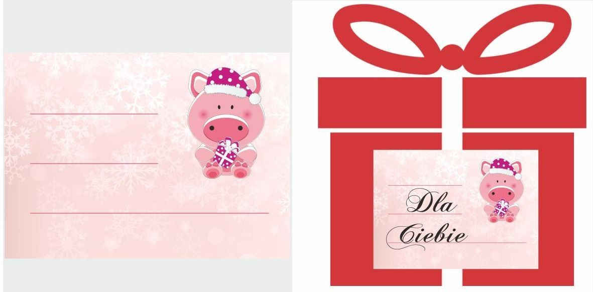 Etykiety na prezent ze świnką