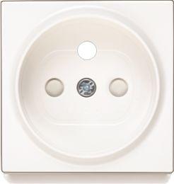 Plakietka gniazdo z uziemieniem z przesłonami styków - Karre Biały