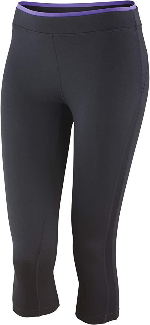 Spiro Damskie spodnie fitness Capri Czarny/lawendowy XL