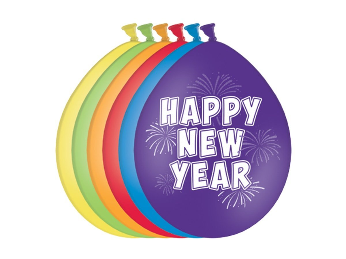 Balony Happy New Year - 27 cm - 6 szt.