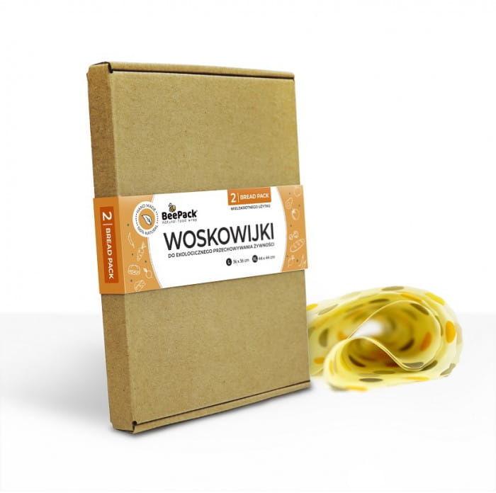 BeePack Ekologiczne Woskowijki Do Przechowywania Żywności Bread Pack 2 szt (Kropki: L, XL)