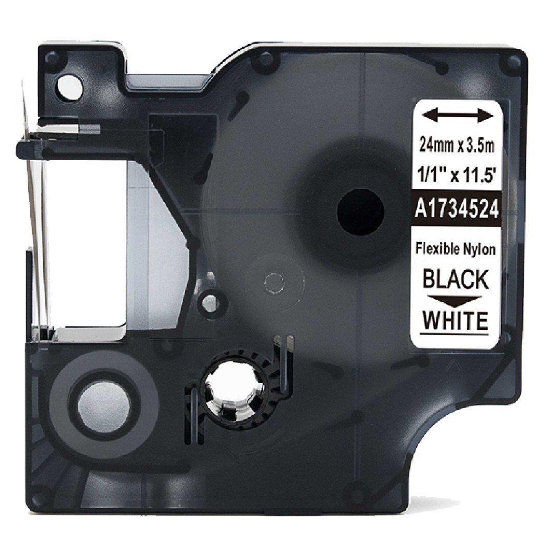 Taśma DYMO Rhino 1734524 nylonowa 24mm x 3.5m biała czarny nadruk - zamiennik OSZCZĘDZAJ DO 80% - ZADZWOŃ! 730811399