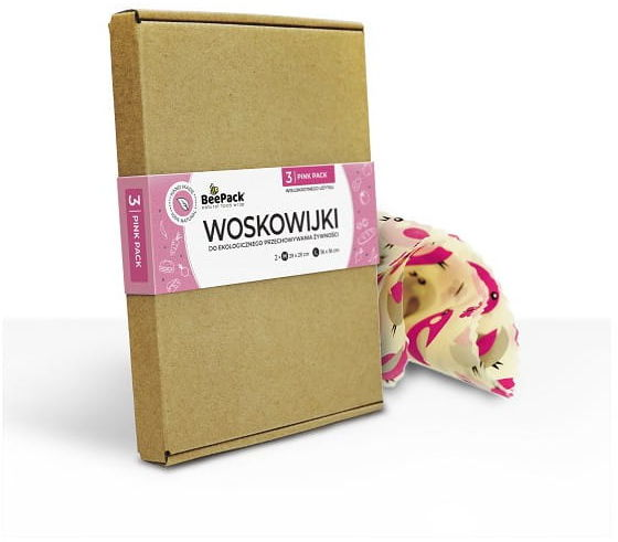 BeePack Ekologiczne Woskowijki Do Przechowywania Żywności Pink Pack 3 szt(2 x M, 1 x L),