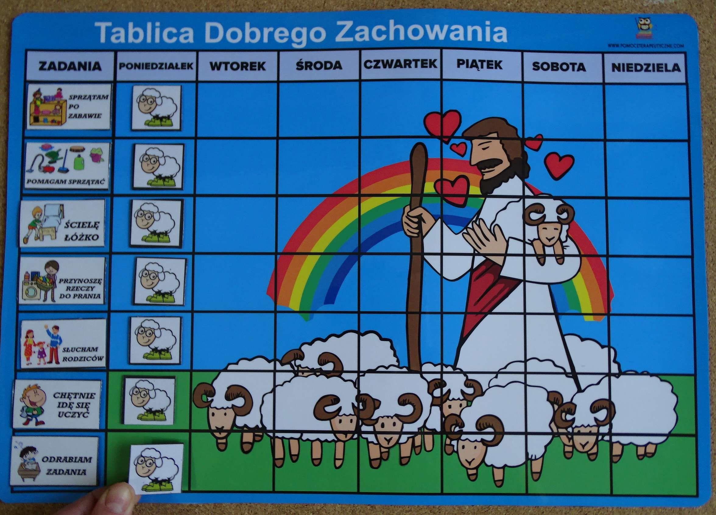 Magnetyczna tablica dobrego zachowania z owieczkami