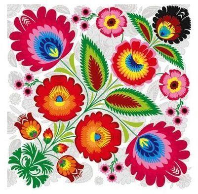 Serwetki łowickie kolorowe kwiaty folklor 33cm 20 sztuk SLOG019501