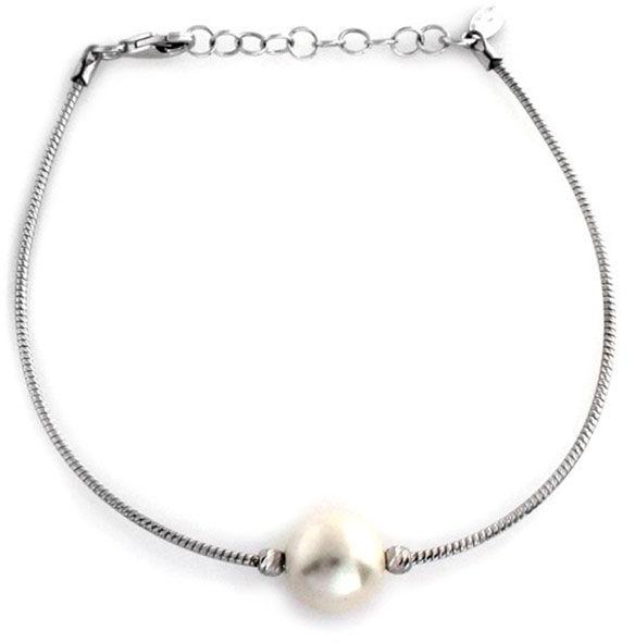Srebrna bransoletka 925 linka z dużą perłą 4,23 g
