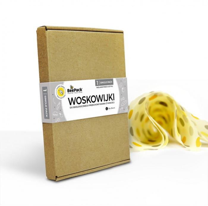 BeePack Ekologiczne Woskowijki Do Przechowywania Żywności Single Pack 1 szt(Kropki L: 36x36 cm)