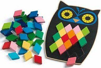 Drewniana układanka dla dzieci, Czarna sowa, DJ01693-Djeco, zabawki edukacyjne