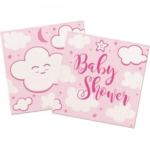 Serwetki na Baby Shower Hello World, różowe 20 szt.