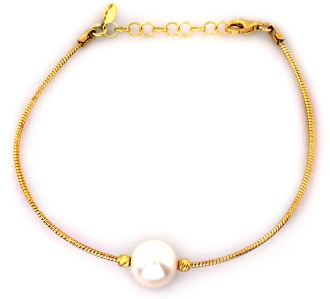 Srebrna pozłacana bransoletka 925 perła 4,30 g