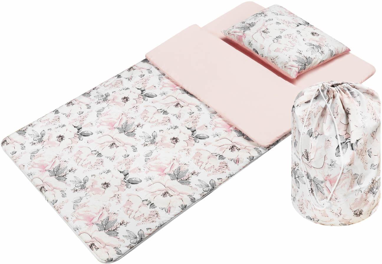 Śpiworek przedszkolaka  pościel do przedszkola Flowers pink  - Bawełna
