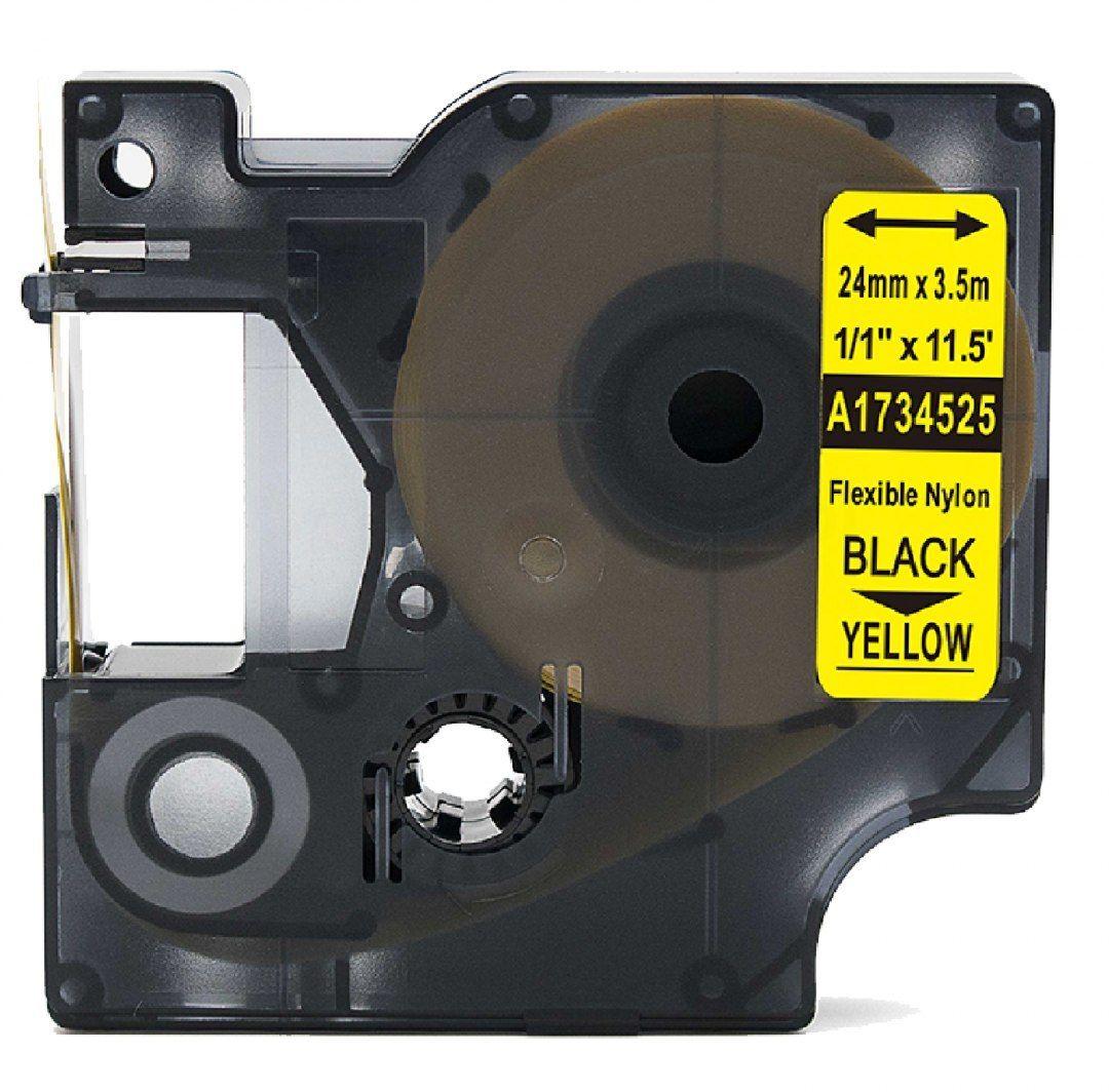 Taśma DYMO Rhino 1734525 nylonowa 24mm x 3.5m żółta czarny nadruk - zamiennik OSZCZĘDZAJ DO 80% - ZADZWOŃ! 730811399
