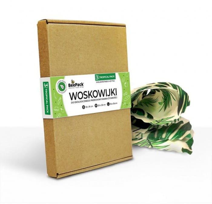 BeePack Ekologiczne Woskowijki Do Przechowywania Żywności Tropical Pack 3 szt. (S, M, L)