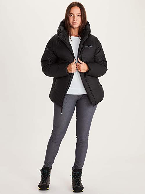 Marmot Damska kurtka puchowa Mt. Tyndall, ciepła kurtka puchowa, izolowany płaszcz zimowy z kapturem, wiatroszczelna parka, kurtka pikowana, lekka kompaktowa kurtka wyprawowa czarny czarny XL