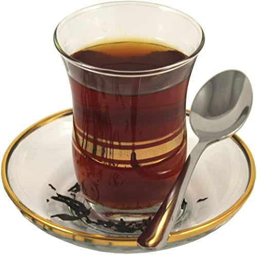 Topkapi Leyla-Sultan szklanki do herbaty, szklane, przezroczyste, ze złotym wzorem, 18-częściowy