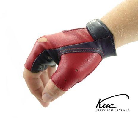 Męskie skórzane rękawiczki bez palców - czerwone