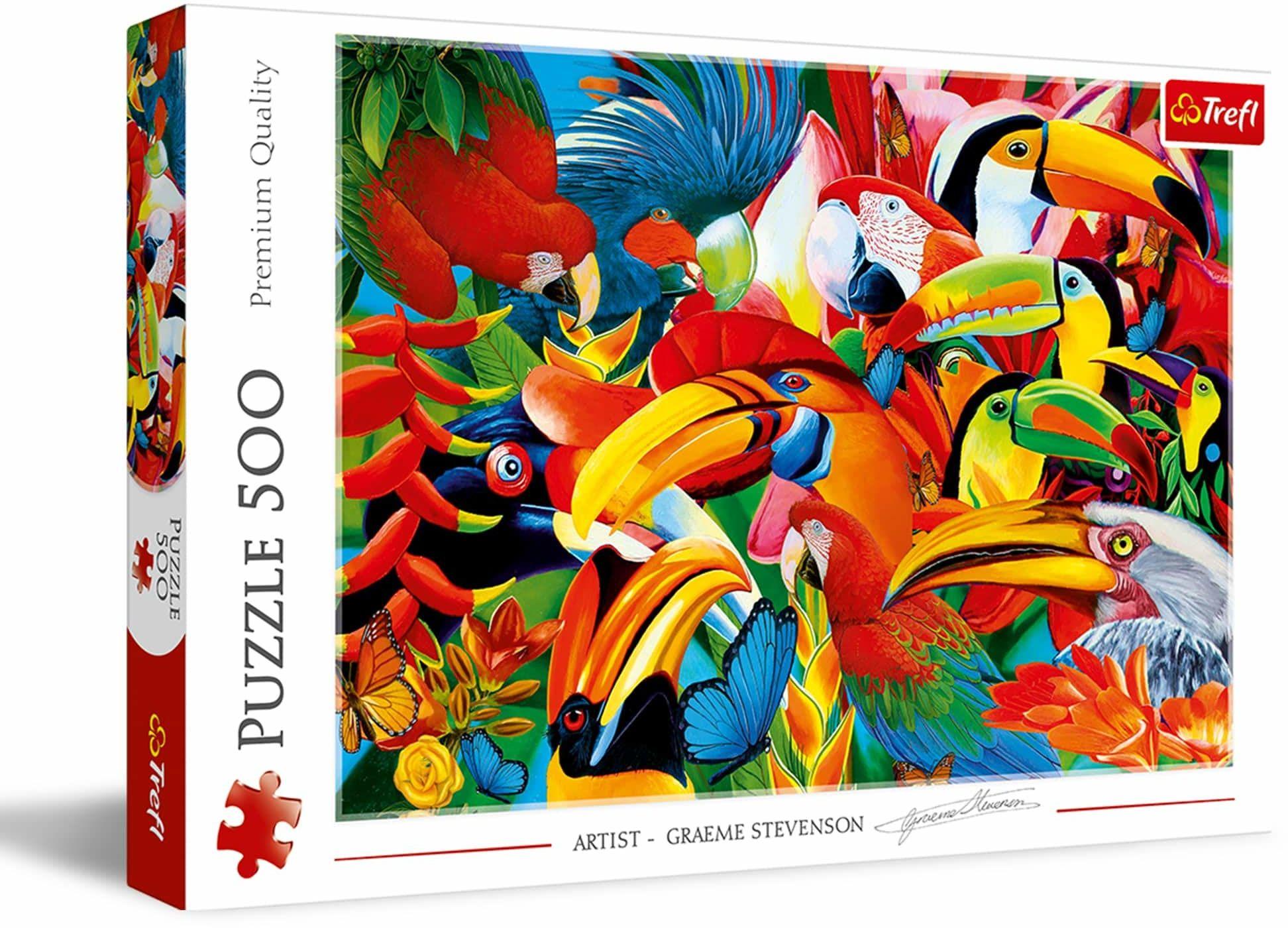 Trefl Kolorowe Ptaki Puzzle 500 Elementów o Wysokiej Jakości Nadruku dla Dorosłych i Dzieci od 10 lat