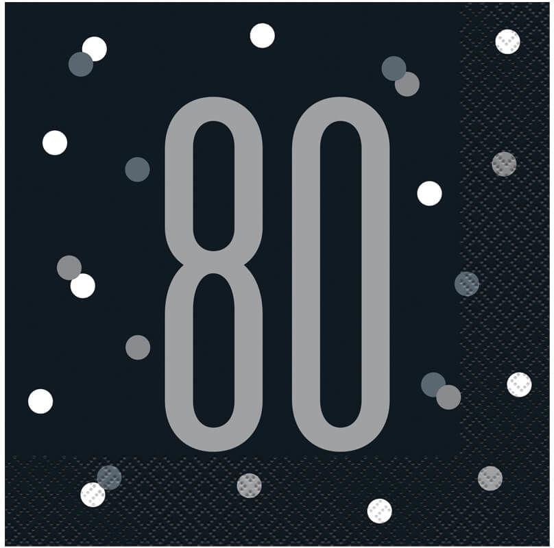 Serwetki urodzinowe czarne na osiemdziesiąte urodziny - 33 cm - 16 szt.