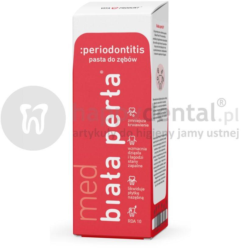 BIAŁA PERŁA Med Periodontitis 75ml enzymatyczno ziołowa pasta do zębów przeciw parodontozie