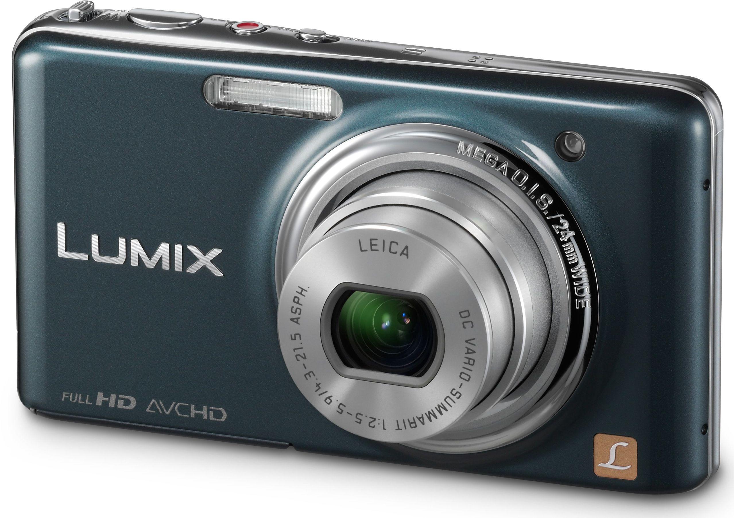 Panasonic Lumix DMC-FX77EG-A aparat cyfrowy (12 megapikseli, 5-krotny zoom, ekran dotykowy LCD 8,8 cm (3,5 cala), Full HD, 3D, stabilizacja obrazu), szaro-niebieski