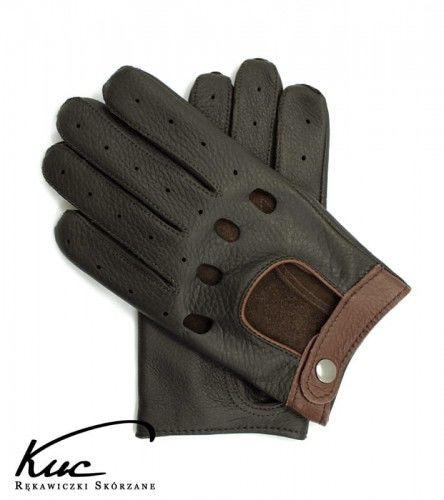 Wygodne męskie brązowe rękawiczki samochodowe - skóra z jelenia