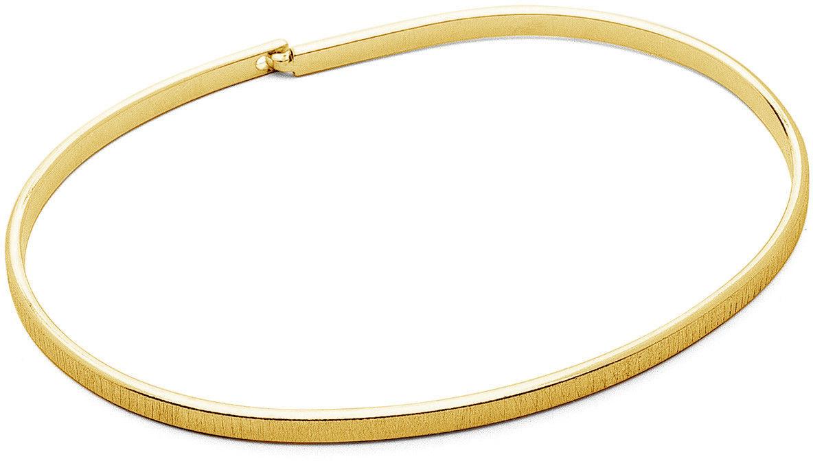 Męska szczotkowana sztywna bransoletka, srebro 925 : Kolor pokrycia srebra - Pokrycie żółtym 18K złotem, Sztywne bransoletki - męski rozmiar - XL - 22 CM