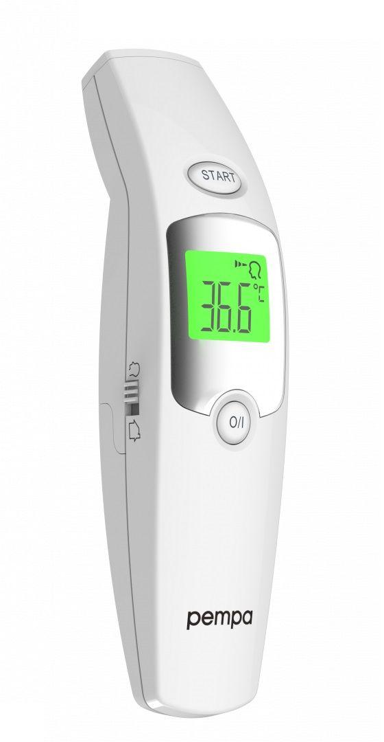 Testowany klinicznie termometr bezdotykowy z funkcją Recall Mode - szybki i precyzyjny pomiar temperatury ciała, obiektów i otoczenia (Pempa T100)