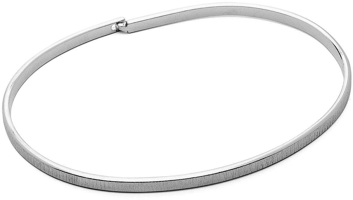 Męska szczotkowana sztywna bransoletka, srebro 925 : Kolor pokrycia srebra - Pokrycie platyną, Sztywne bransoletki - męski rozmiar - S - 18 CM