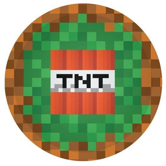 Talerzyki papierowe TNT Piksele zielone 18cm 6 sztuk TP18-PIK2