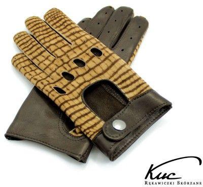Damskie rękawiczki całuski - brązowe z welurem