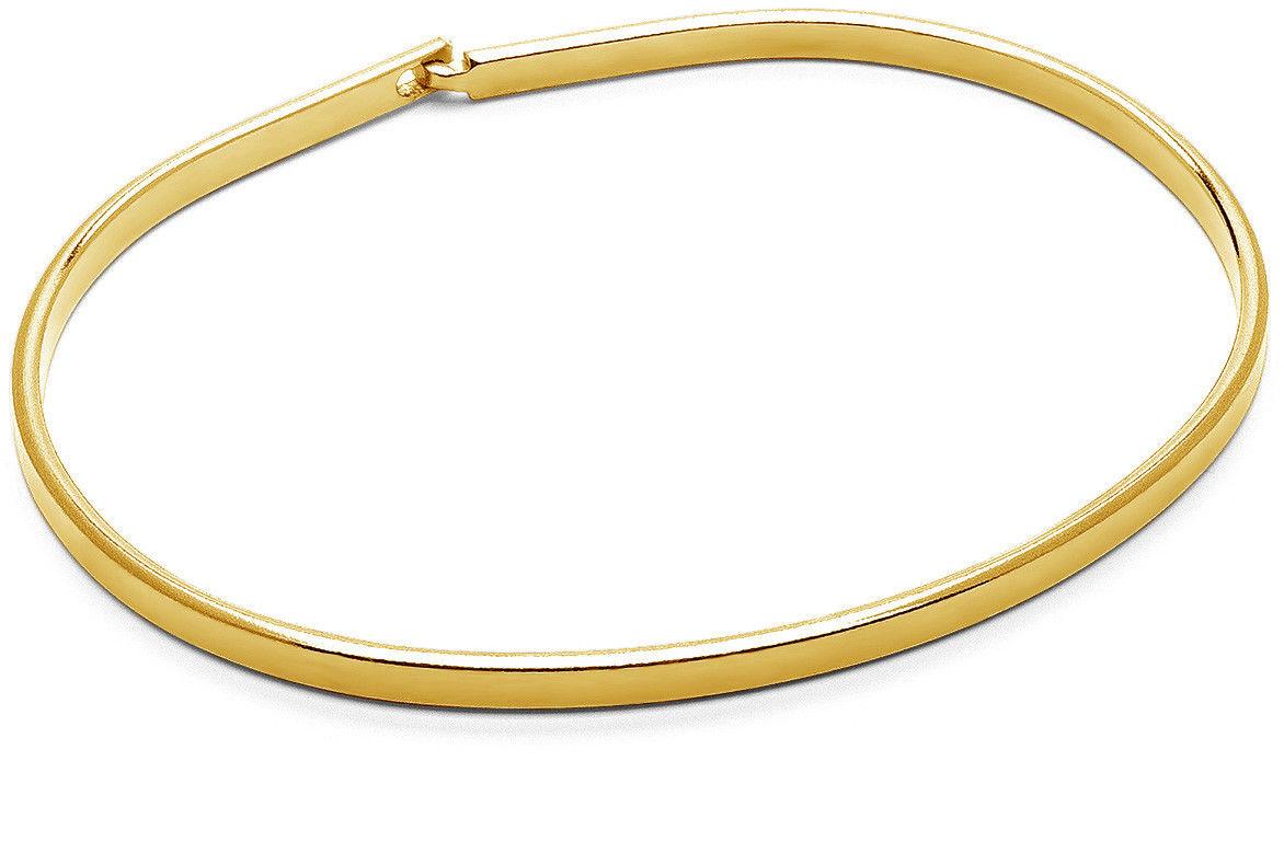 Męska błyszcząca sztywna bransoletka, srebro 925 : Kolor pokrycia srebra - Pokrycie żółtym 18K złotem, Sztywne bransoletki - męski rozmiar - XL - 22 CM