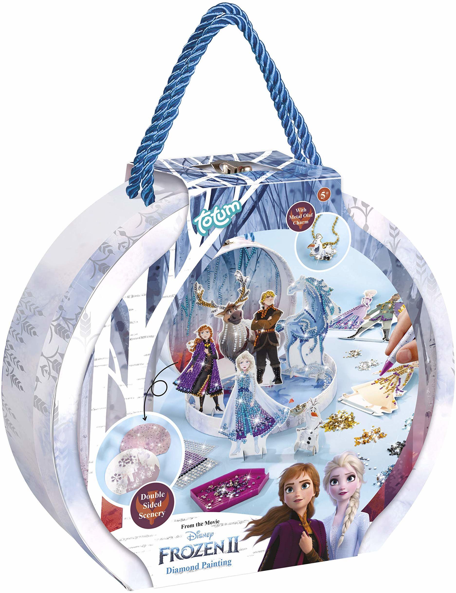 Disney Frozen II Diamond Painting pudełko na prezent: Stwórz swoje ulubione figurki z Frozen II przepiękne kamienie stras w krajobrazach 3D, w zestawie zawieszka Olaf