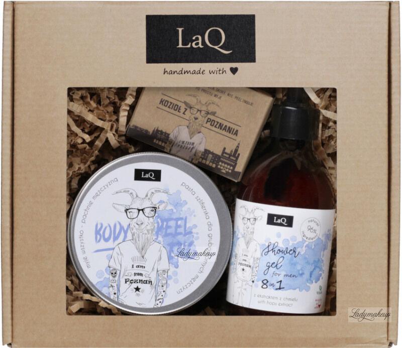 LaQ - Mały Kozioł - Zestaw prezentowy dla mężczyzn - Żel pod prysznic 300 ml + Peeling do ciała 200 ml + Mydło w kostce 85 g