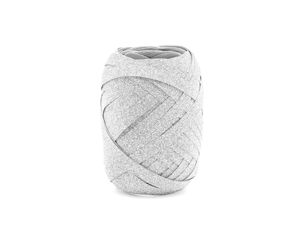Wstążka ozdobna do balonów - brokatowa - srebrna - 10 m.