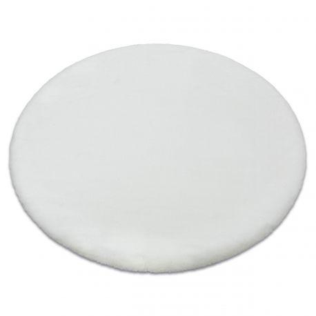 Dywan BUNNY koło biały IMITACJA FUTRA KRÓLIKA koło 80 cm