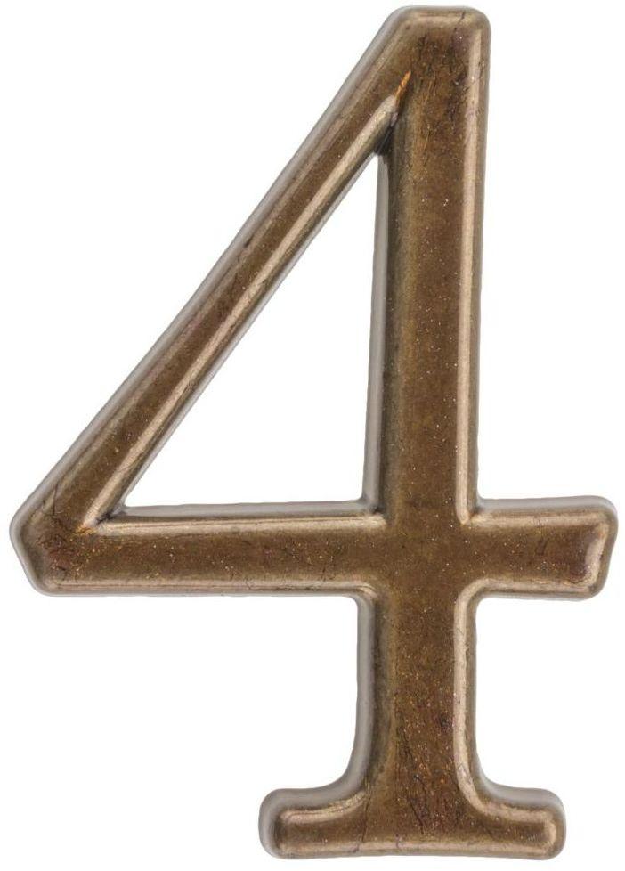 Cyfra 4 wys. 5 cm metalowa brązowa