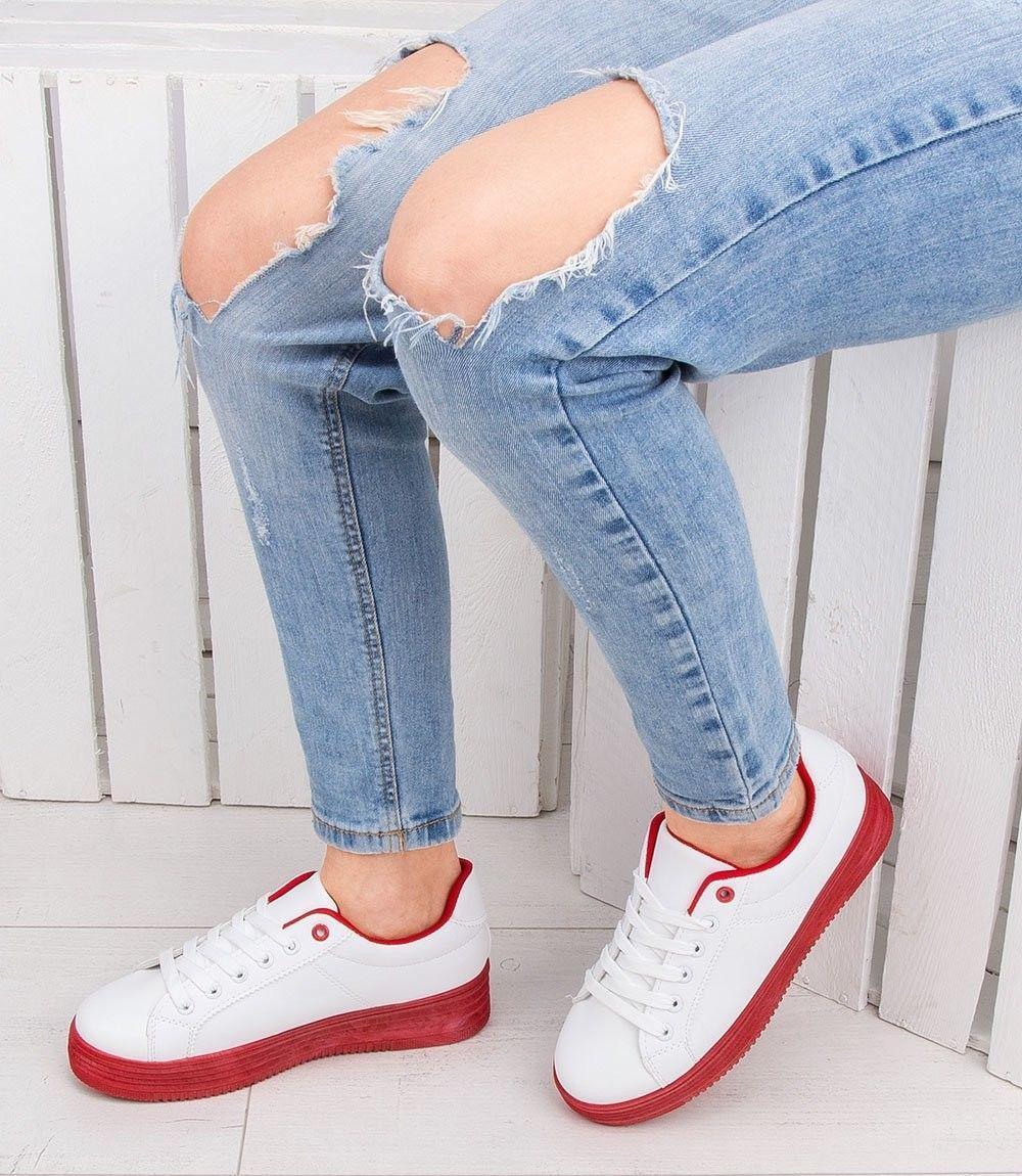 Buty sportowe damskie Abloom W-68 Biało-Czerwone