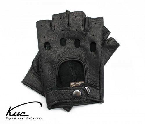 Rękawiczki bez palców ze skóry jelenia - rękawiczki rowerowe, samochodowe - kolor czarny